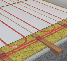 Giacomini joisted underfloor heating suspended floor system